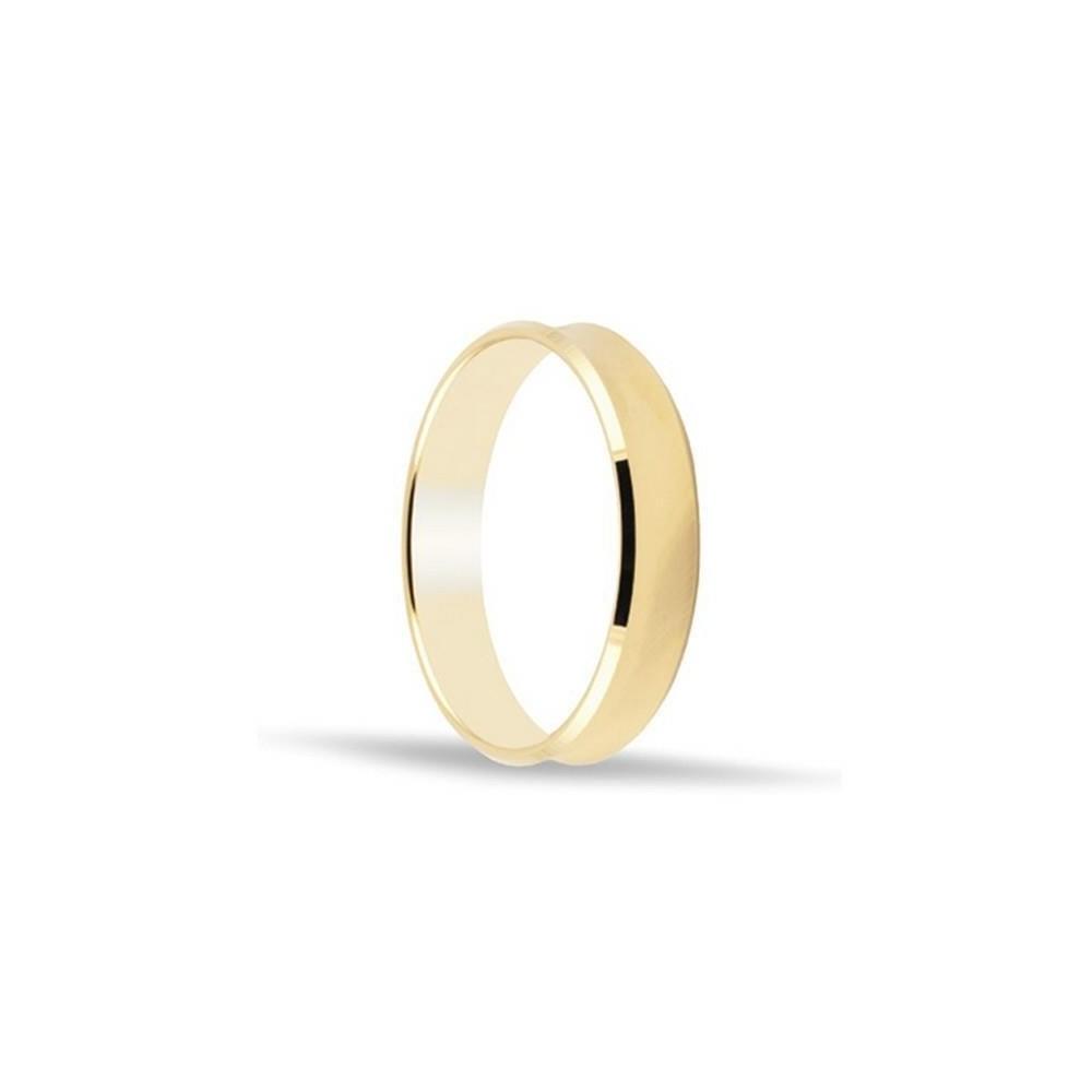 Alianza de oro 18k de 4 mm curvada