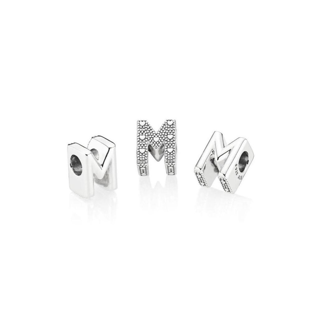 Charm Pandora de plata inicial letra M