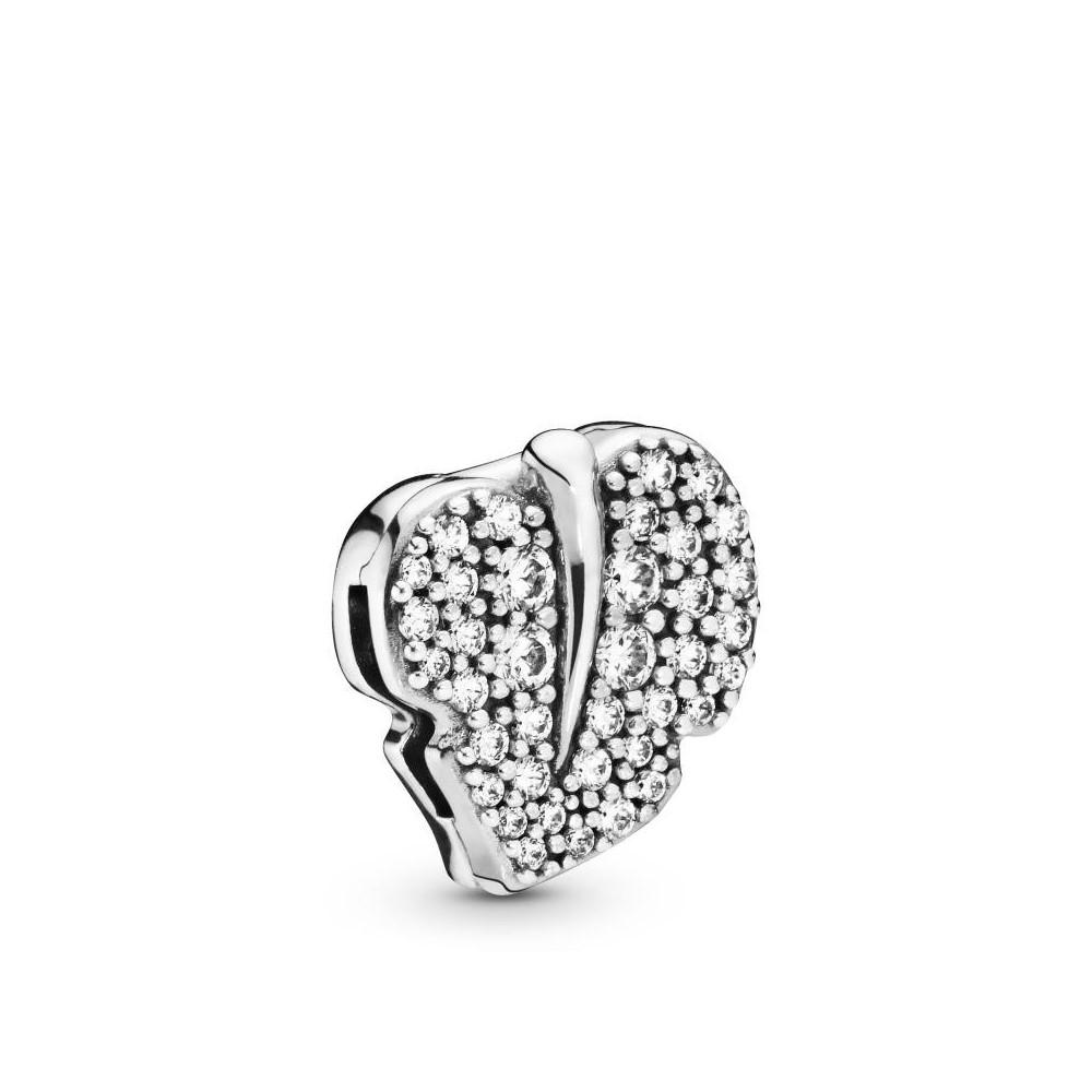 Pandora Sparkling Leaf Clip Charm de...