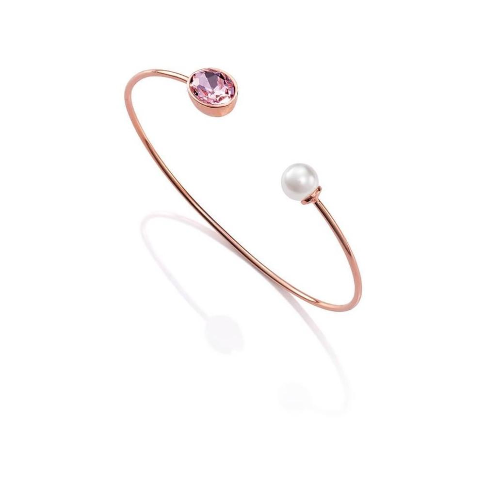 Pulsera metal rosa, cristal y perla