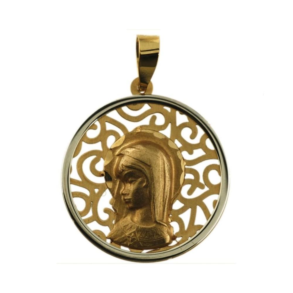 Medalla bicolor oro 18 k. de la...