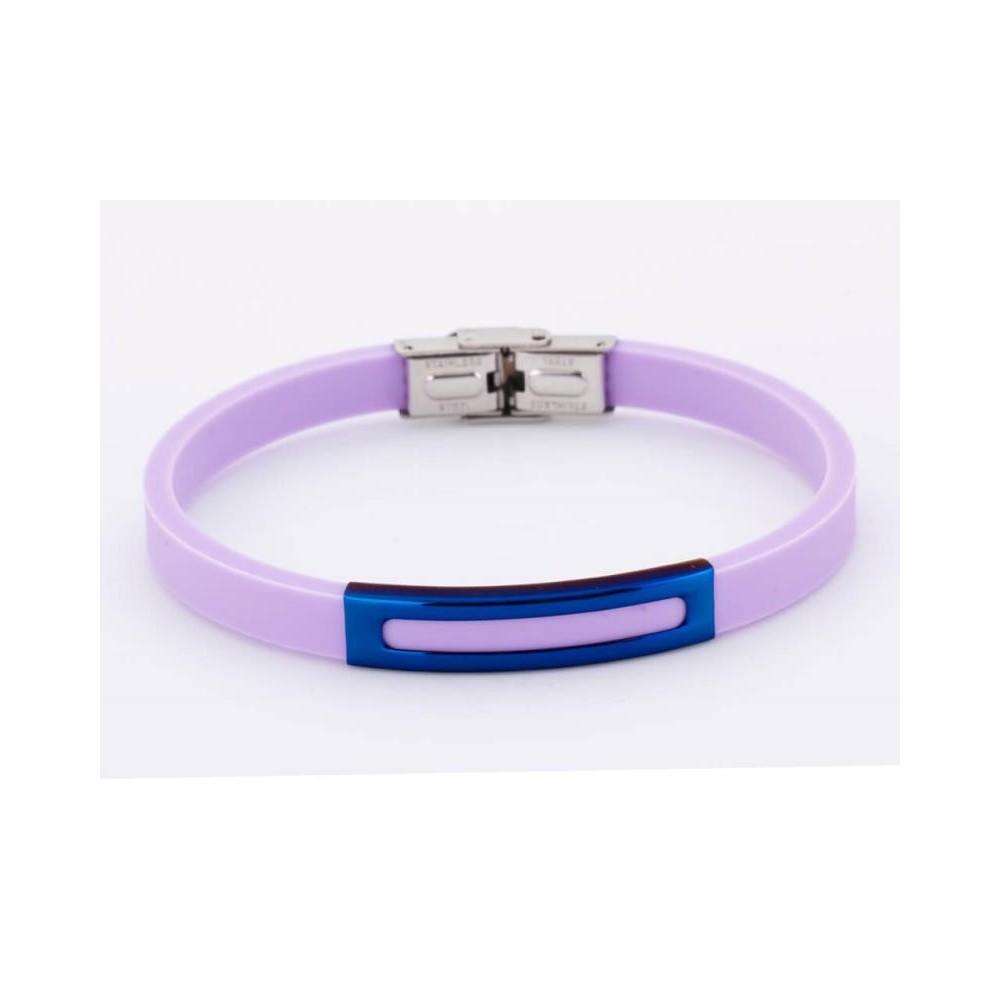 Pulsera de silicona lila y acero ip azul