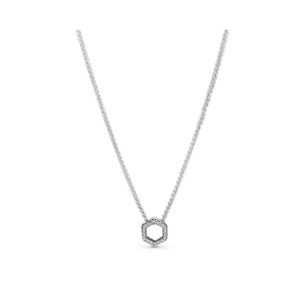 Collar Pandora hexagonal en plata