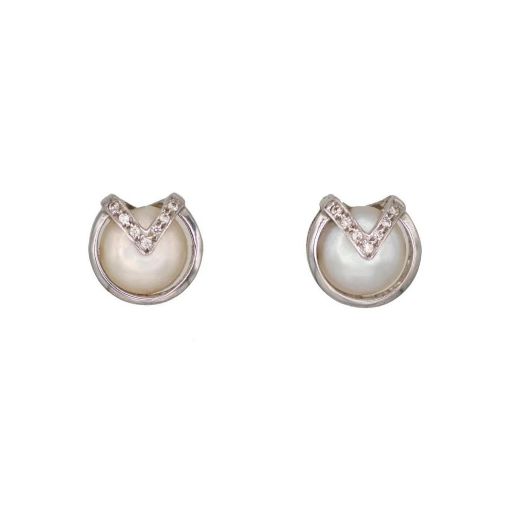Z-1840 - Pendientes de oro blanco con...
