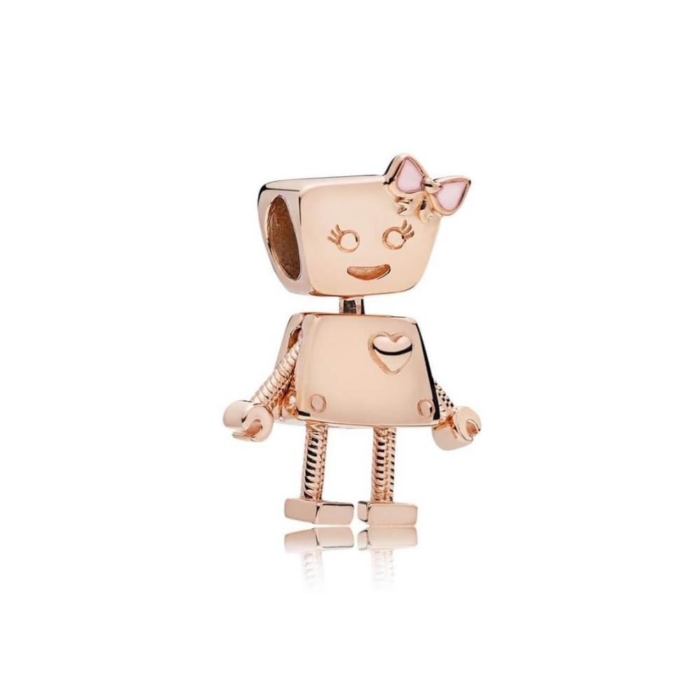 Charm Robot Bella Rose esmalte rosa...