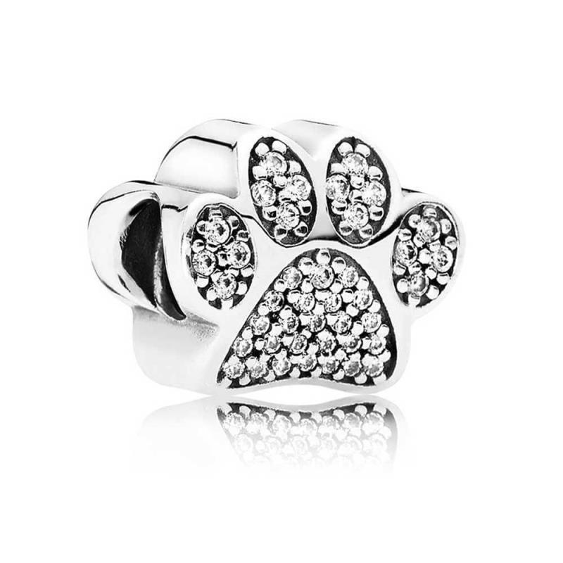 Charm Pandora de plata huella de mascota con circonitas