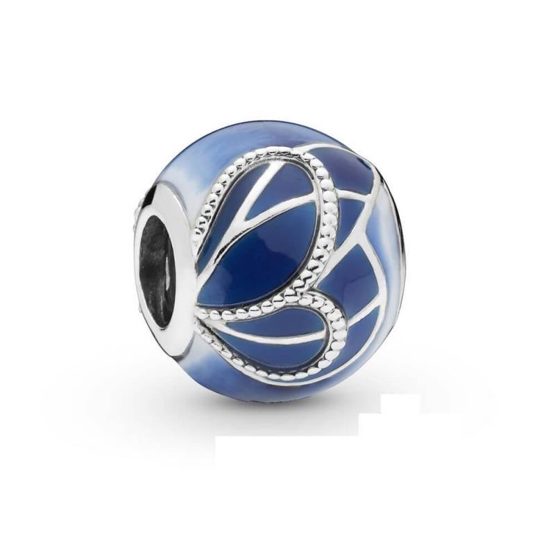 Charm Pandora Alas de Mariposa Azules con esmalte blanco, turquesa azul y transparente