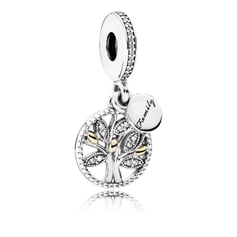 Charm Pandora colgante de plata y oro con ciconitas. Arbol Familia.