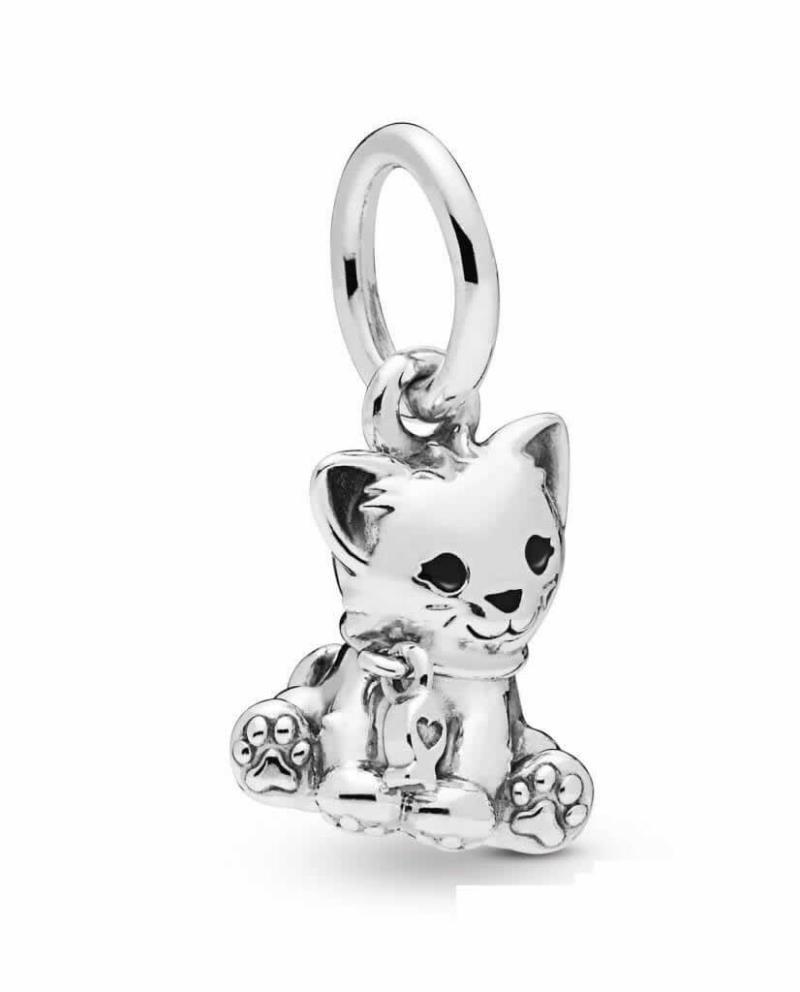 Charm Pandora Gato colgante en plata con esmalte negro