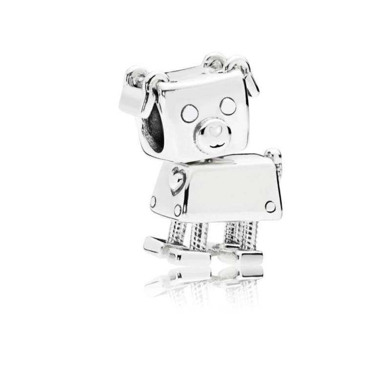 Charm Pandora en plata con esmalte blanco Bobby Bot