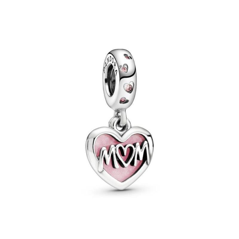 Charm Pandora Mamá de plata con esmalte rosado